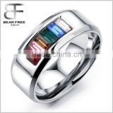 Fashion Jewelry Women's Men's Stainless Steel Cubic Zirconia Rainbow Wedding Band Rings                                                                         Quality Choice