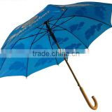 Auto Open Quality Wooden Umbrella with Wood Shaft Wood Handle Straight Umbrella