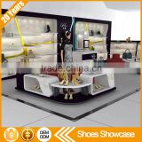 New custom shoes kiosk suppliers MDF shoe rack designs wood showcase shoe display cabinet with many drawers