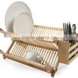 2015 high quality hot selling bamboo plate storage rack kitchen dish drying drainer rack