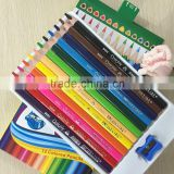 "7"" jumbo size triangular shape soft wood high quality 5.0mm color lead tri-grip colored pencil"