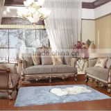 Luxury leather sofa with hand carved wood frame