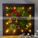 indoor wall decoration wholesale price retro style artificial succulent plant wall with led light battery operate