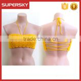 K-74 OEM Ladies Summer Halter Crochet Cami Bra Hollow Tank Tops Beach Wear Crop Lace Vest