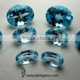 Sky Blue Topaz Semi Precious Gemstone Oval Cut Faceted Lot For Platinum Bracelet From Manufacturer