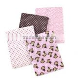 4 Piece 100% Cotton Flannel Receiving Baby Blankets--Monkeys/Pink/White/Brown