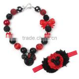 hot selling pearl plastic baby girls necklace black and red mickey necklace and hairband