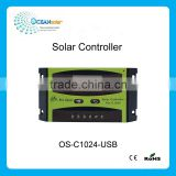 LCD display 12V 24V 10A PWM manual Solar charge Controller with USB