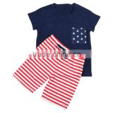 Wholesale 2016 hot sale baby boys clothing red white navy 4th July star fashion baby cotton clothing patriotic boutique bed set