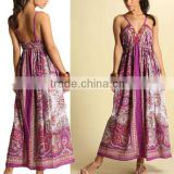 2015 Paisley Beading Digital Print Kaftan Maxi Dress QL1460