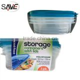 Eco-friendly PP shallow square food disposable storage container 3PK plastic storage box