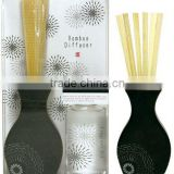 Export to Japan bamboo chip and black ceramic bottle in blister for mail order ceramic reed diffuser