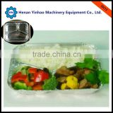 microwave pp white plastic disposable food container with two compartments for take away