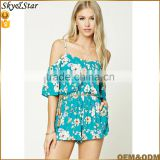 Women cold shoulder floral sexy short romper