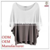 2014 Top fahsion plain colour round collar ladies tops and blouses with batwing sleeve
