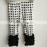 2016 hot sale baby girl dots icing pants with black triple ruffles leggings baby icing pants