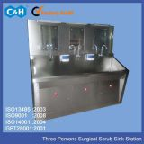 Stainless Steel Materials Three Bays Medical Scrub Sink Station Units for Hands Washing in Hospital