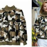 Women High Collar Fleece Sweater CAMO Print