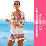 Wholesale Print Chiffon Sexy Sarong Beach Tunic Dress