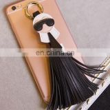 New Arrival High Quality Micro PU Leather Tassel Keychain Monster Key Chain Car Key Ring Women Bag Accessories
