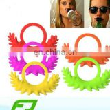 eco-friendly silicone beer bottle mustache ring mustache toy
