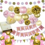 Pink Gold Paper Issue Balloon Kid Children One Year Birthday Girl 1st Birthday Decoration Set