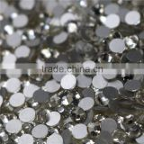 Top quality wholesale transparent white silver flat back hot fix crystals rhinestone for t shirts