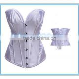 White Lady Steel Boned Full Spiral Corset Bustier Lace up Overbust Body Shaper