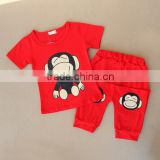 2016 summer new design boy cartoon monkey shirt and pant set baby cotton suit
