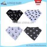 WZ-MS-1915 wholesale 100% polyester and organic cotton printed baby bandana bib