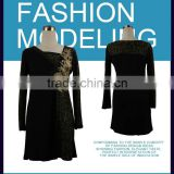 Latest flower pattern beaded long sleeve net design lady dress                                                                         Quality Choice