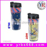 Double wall plastic advertising plastic hot coffee thermos cup drinking promotional souvenir water bottle