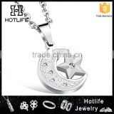 china top ten selling products 316L stainless steel silver plating moon star pendant for couples