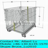 Galvanized Wire Mesh Storage Cages/folding and stackable storage cage/galvanized wire mesh container