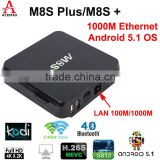 2016 popular home entertrainment tv box android theater tv box M8S Plus M8S+ has high end performance dual band wifi Gigabit