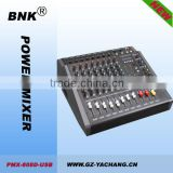 8 channels mixer console for studio stage with amplifier+display+USB
