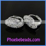 Hot Sale Clay Base White Crystal Pave Clip Earrings For Ladies PEA01