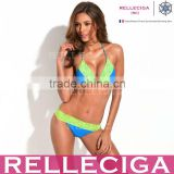 RELLECIGA Lace Bikini Series - Solid Sapphire + Green Lace Triangle Brazilian Bikini Swimwear with Scrunch Bottom