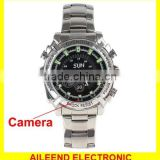 Support Night Vision 8GB Waterproof 1080P IR Stainless Steel Spy Watch Camera