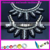 2014 New Design crystal applique 100% handmade beads and rhinestone necklace trim for cloth decorations