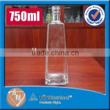 Screw top 750ml high flint glass material empty tequila glass bottle                                                                                                         Supplier's Choice