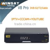 2015 V8 pro fta full 1080P HD satellite receiver DVB-S2&T2&C arabic iptv combo stb support Biss Key WebTV porn video