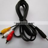 2.5mm Mini AV Male to 3RCA Female M/F Audio Video Cable Stereo Jack Adapter Cord