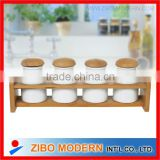 4pcs ceramic spice jar with wooden rack