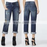 Factory price custom printed cotton fashionable women baggy jean pants