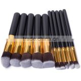 Hot sale high quality 10pcs Black gold Synthetic Kabuki Makeup Brush Set with private label