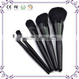Wholesale 5pcs beautiful private label cosmetics makeup brush set black VEGAN wooden synthetic hair make up brushes