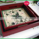 cheap price pine wood paint wooden tray for food,antique wooden tray,eco friendly wooden tray