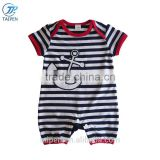 Summer Baby Bodysuit Collection Navy Style Newborn Baby Romper Knitted Stripe Kids Clothes