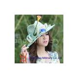 colorful flowers fascinator straw beach hat for Summer / Spring / Autumn